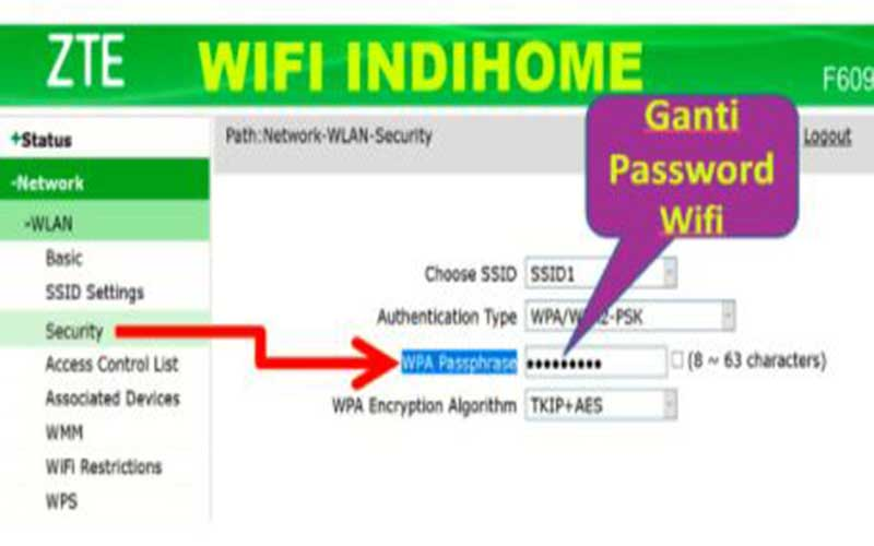 Ganti Password Wifi IndiHome ZTE